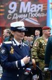 Attaché de presse du ministre de la défense de la Fédération de Russie Rossiyana Markovskaya à la répétition de Victory Parade photos stock