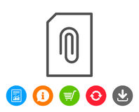 Attach Document line icon. File sign. Stock Image