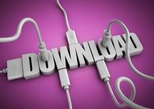 Attache de câbles et de prises d'ordinateur au téléchargement de titre des textes 3d Photo stock