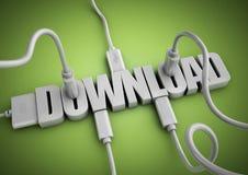 Attache de câbles et de prises d'ordinateur au téléchargement de titre des textes 3d Image libre de droits