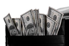 Attache full of banknotes. Case with dollars in it royalty free stock photo
