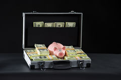 Attache full of money. Royalty Free Stock Image