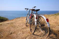 Attached bicycles royalty free stock photography
