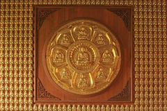 Attached golden Chinese Buddha statues Royalty Free Stock Image