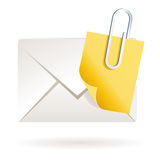 Attached note on mail on blank. Illustration of blank note sheet on mail as web icon or clip art Stock Photo