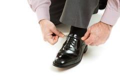 attachement de chaussure de lacet Images stock