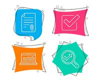 Attachment, Checkbox and Web analytics icons. Analytics sign. Attach file, Approved tick, Statistics. Set of Attachment, Checkbox and Web analytics icons Stock Photos