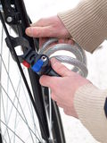 Attachment, close up, isolated. Protecting a bicycle from a robbery by tying Stock Image