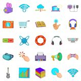 Attachment icons set, cartoon style. Attachment icons set. Cartoon set of 25 attachment vector icons for web isolated on white background Royalty Free Stock Photography