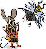 Attack. 2 characters in an action: a flying creature attacks the second scared character Stock Photo