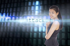Attack against glowing codes on black background Royalty Free Stock Photo
