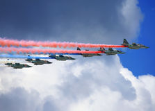 Attack aircraft in flight Royalty Free Stock Images