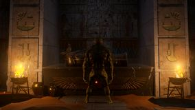 Alien in The Pharaonic temple in front of the mummy. Attack of aliens on the earth  planet stock illustration