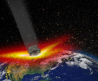 Attack of the asteroid on the Earth Stock Image