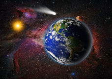 Attack of the asteroid on the Earth Royalty Free Stock Photo
