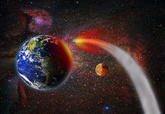 Attack of the asteroid on the Earth Royalty Free Stock Photography