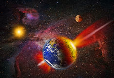 Attack of the asteroid on the Earth Royalty Free Stock Image