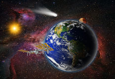 Attack of the asteroid on the Earth Royalty Free Stock Images