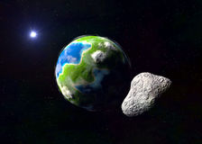 Attack of the asteroid on the Earth Stock Photos