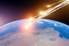 Attack of the asteroid meteor on the Earth. Elements of this image furnished by NASA royalty free stock photos