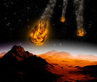 Attack of the asteroid on the planet Stock Image