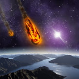 Attack of the asteroid on the planet. Royalty Free Stock Photography