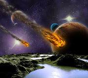 Attack of the asteroid on the planet. Royalty Free Stock Images