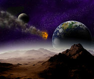 Attack of the asteroid on the planet earth Stock Photos