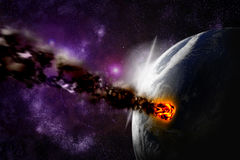 Attack of the asteroid on the planet earth Royalty Free Stock Photos