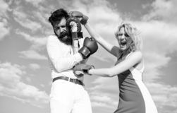 Attack is best defence. Couple in love fighting. Defend your opinion in confrontation. Man and woman fight boxing gloves. Attack is best defence. Couple in love royalty free stock image