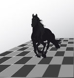Attack by a black horse. Prompt attack to the opponent to a chessboard a black horse Stock Photos
