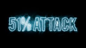 51% attack on blockchain. Blue plasma text message on black background stock illustration