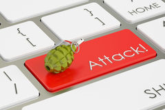 Attack! concept, on the computer keyboard. 3D rendering Stock Images