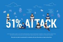 51% attack concept flat criminal illustration of hacker coding bug to hack a blockchain network vector illustration