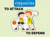 Attack and defend Opposite Words