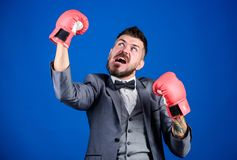 Attack and defense concept. Achieve success. Criminal defense lawyer planning out strategies. Businessman wear boxing. Gloves. Best criminal defense lawyer royalty free stock image