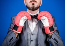 Attack and defense concept. Achieve success. Tactics proven to work. Criminal defense lawyer planning out strategies. Businessman wear boxing gloves. Best stock photo