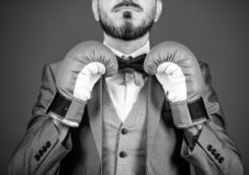 Attack and defense concept. Achieve success. Tactics proven to work. Criminal defense lawyer planning out strategies. Businessman wear boxing gloves. Best royalty free stock images