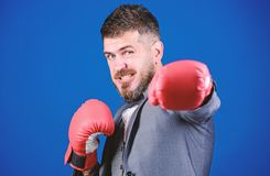 Attack and defense concept. Successful businessman. Criminal defense lawyer planning out strategies. Businessman wear. Boxing gloves. Best criminal defense stock photos