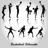 Attack and deffense basketbal silhouette Royalty Free Stock Photos