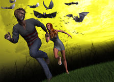 Attack Of The Ebola Virus Illustration. Fantasy image of a couple escaping from the attacking of fruit bats Stock Photos