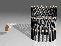 Attack on education. Three dimensional illustration of gun pointing at balanced stack of pencils, isolated on graduated light background Stock Photo