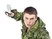 Attack för militär man med kniven Fotografering för Bildbyråer