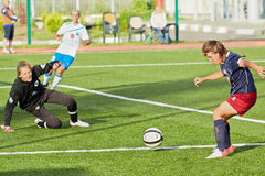 Attack of goal box during match Stock Image