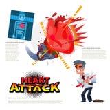 attack heart keeps man Εγκιβωτίζοντας γάντι που χτυπά στην ανθρώπινη καρδιά χαρακτήρας - β διανυσματική απεικόνιση