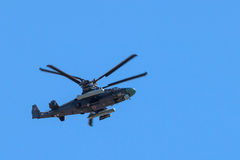 Attack helicopter in flight Stock Image