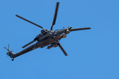Attack helicopter in flight Stock Photo