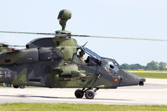 Attack helicopter. Military attack helicopter taxiing beofre take off Stock Image