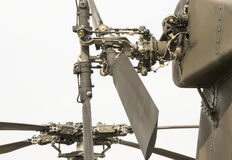 Attack helicopter rotors. Modern attack helicopter tail and main rotor mechanisms with four blades Stock Photography