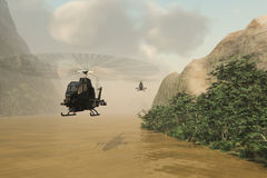 Attack helicopters on covert mission. Armed helicopters without markings flying low over muddy river to avoid radar detection Stock Images